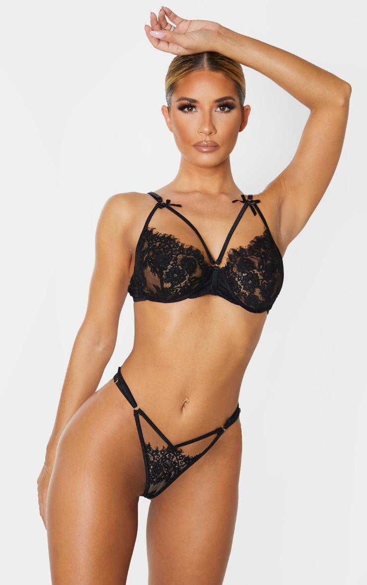 Black Lace Harness Lingerie Set 1