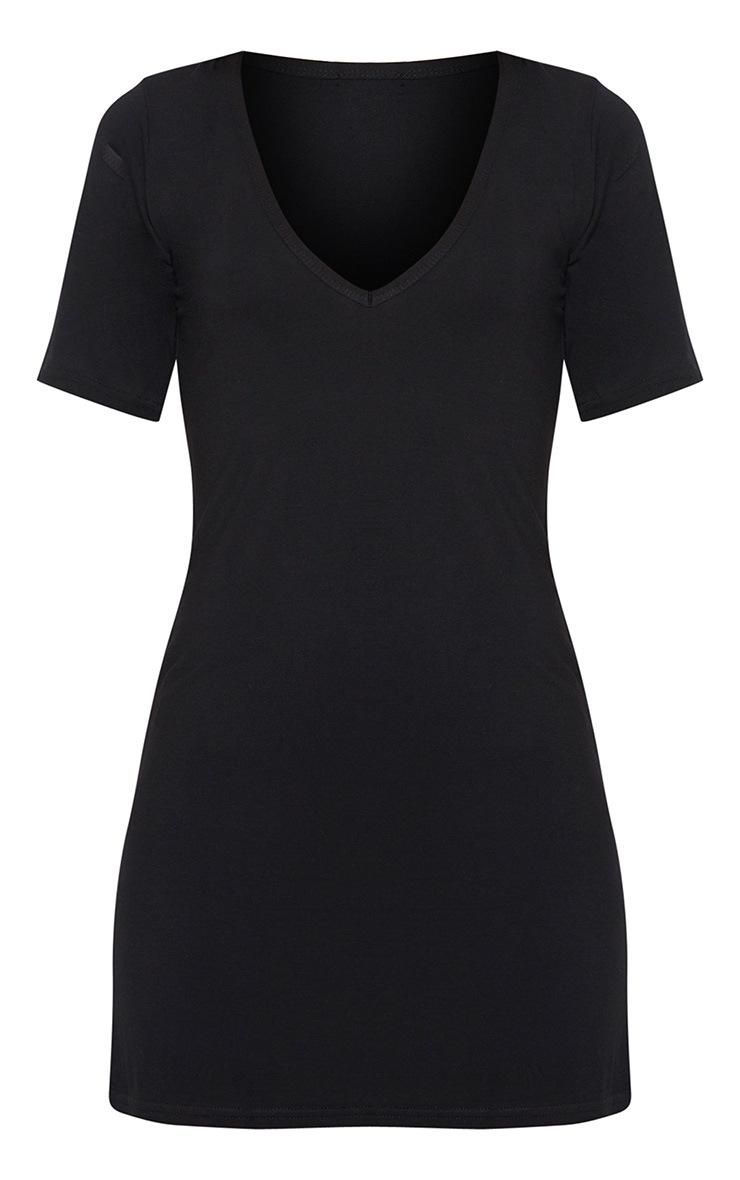 Basic Black Plunge V Neck T Shirt Dress 3