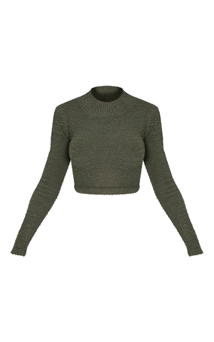 Ralda pull court manches longues duveteux tricoté kaki 3