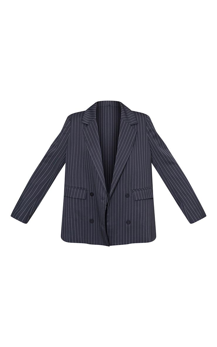 Grey Woven Pinstripe Single Breasted Shoulder Padded Blazer 5