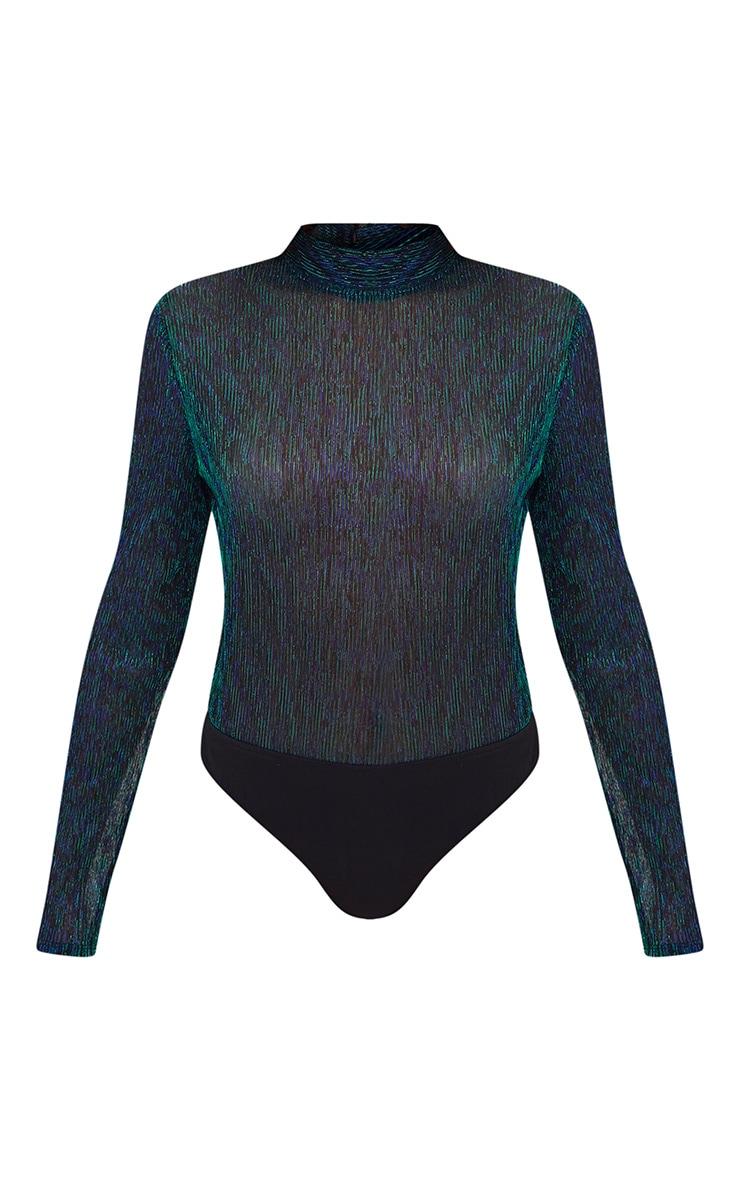 Green Sheer Metallic Longsleeve Thong Bodysuit 3