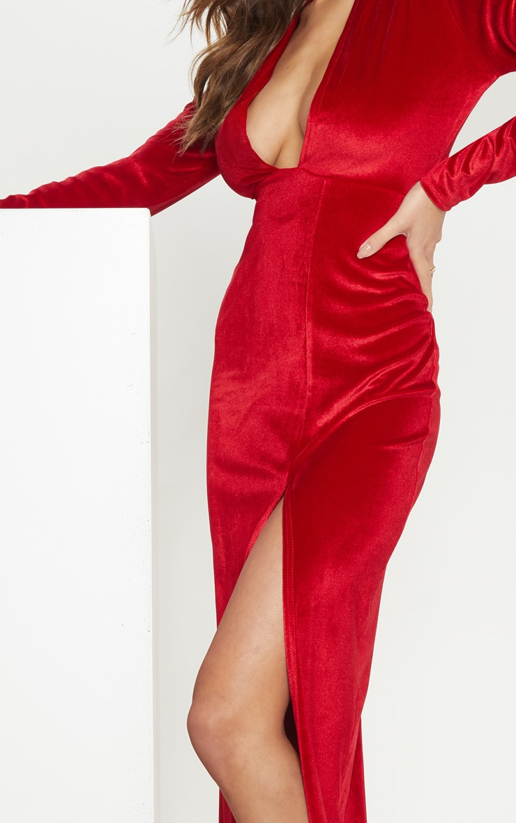 Red Velvet Plunge Split Leg Maxi Dress 4