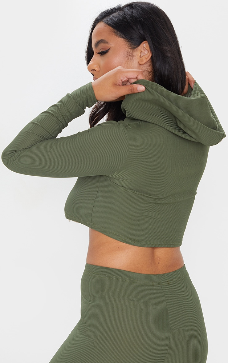 Khaki Rib Crop Long Sleeved Hoodie 2