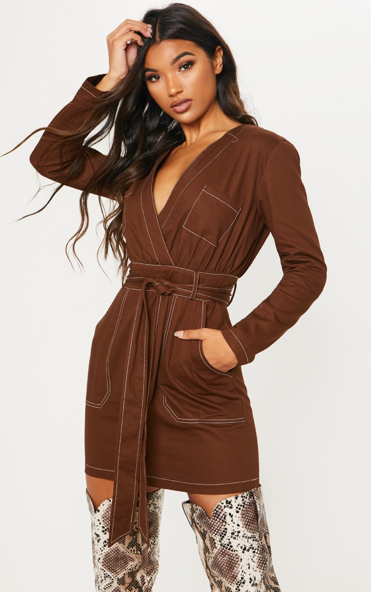 Chocolate Contrast Stitching Utility Bodycon Dress 1