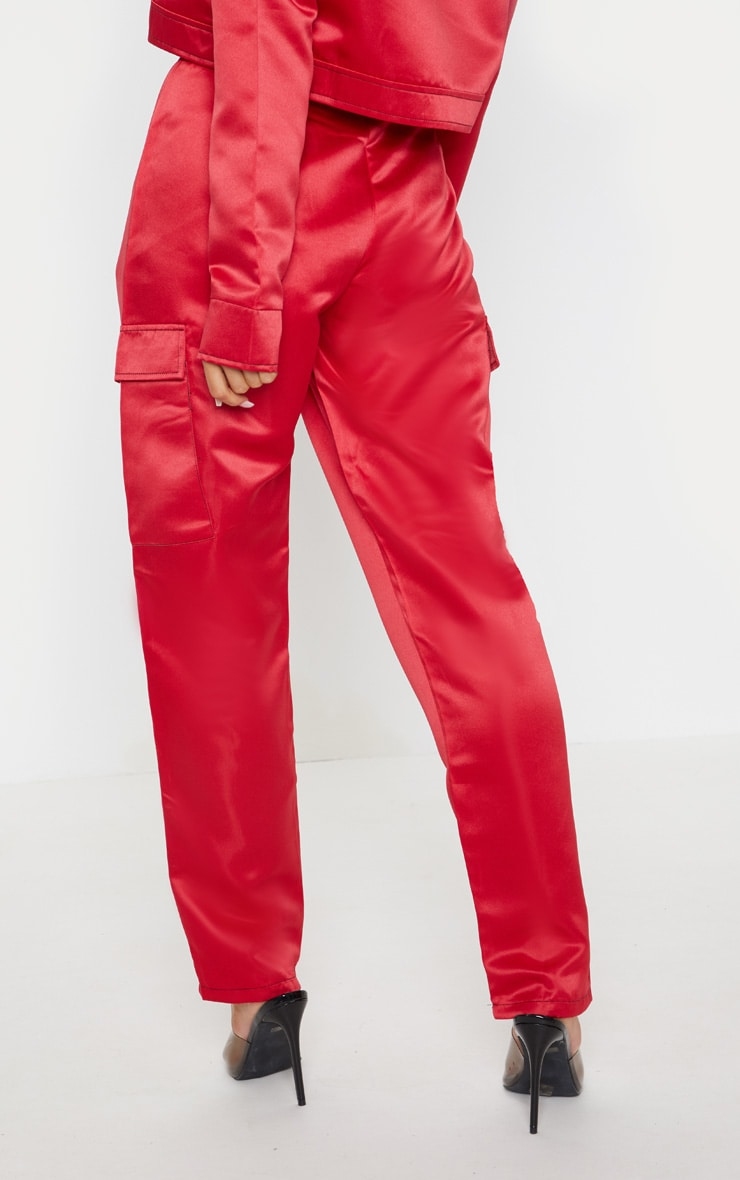 Red Contrast Stitch Pocket Detail Cargo Trouser 4