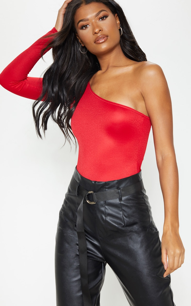 Red Stretch Crepe One Shoulder Thong Bodysuit  1