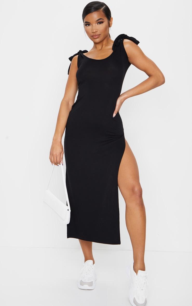 Black Tie Shoulder Scoop Neck Jersey Midi Dress 1