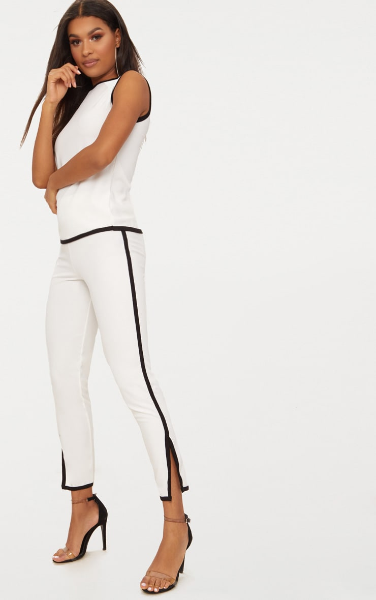 White Contrast Binding  Split Straight Leg Trousers  1