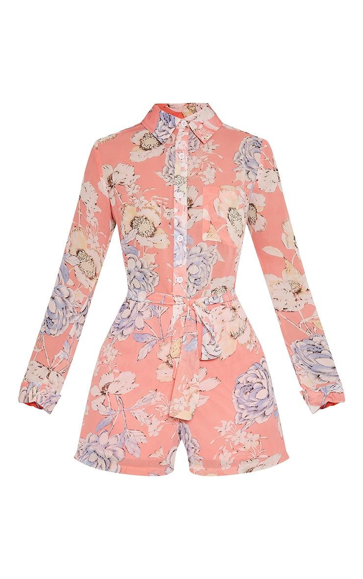 Aria Pink Floral Print Shirt Playsuit 5