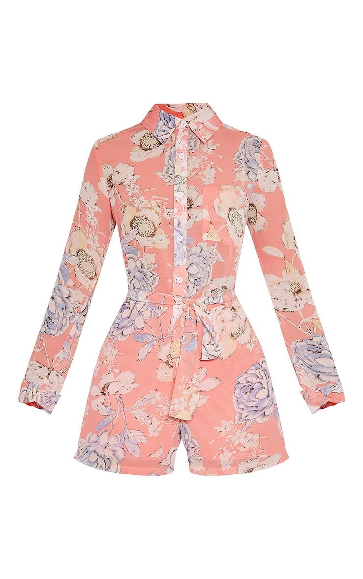 4a3ea70b9e3f Aria Pink Floral Print Shirt Playsuit - Jumpsuits   Playsuits ...