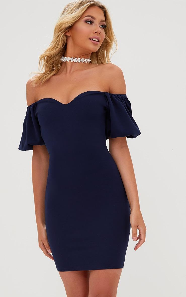 Navy Puff Shoulder Bardot Bodycon Dress 1