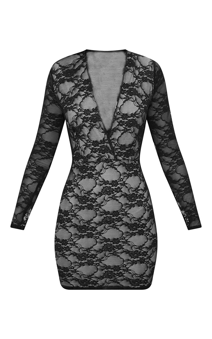 Black Lace Long Sleeve Plunge Bodycon Dress  3