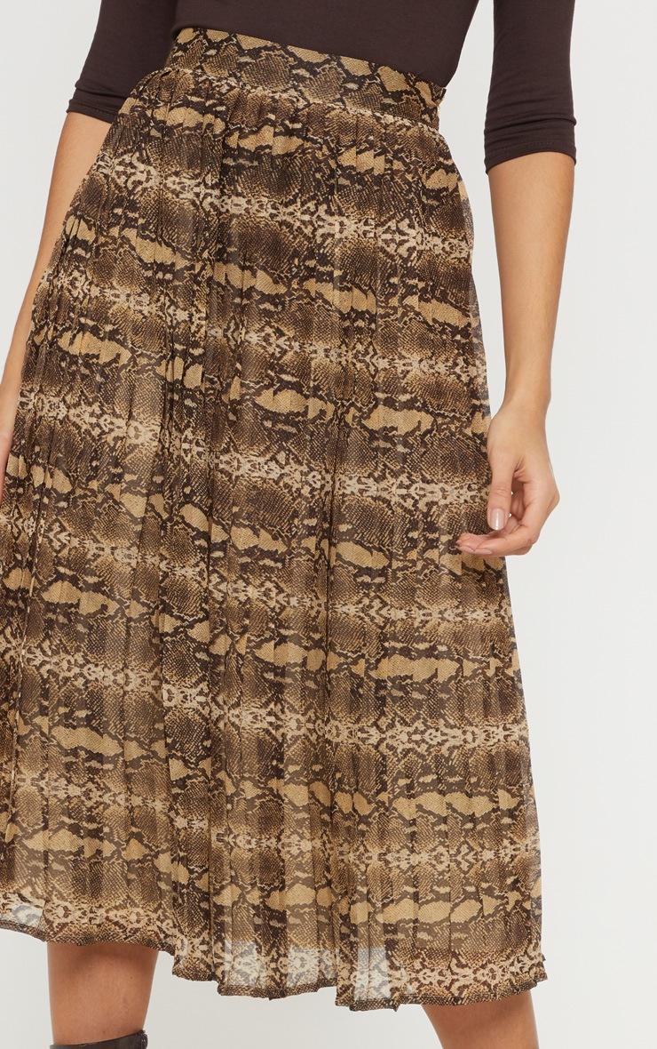 Brown Woven Snake Print Pleated Midi Skirt  5