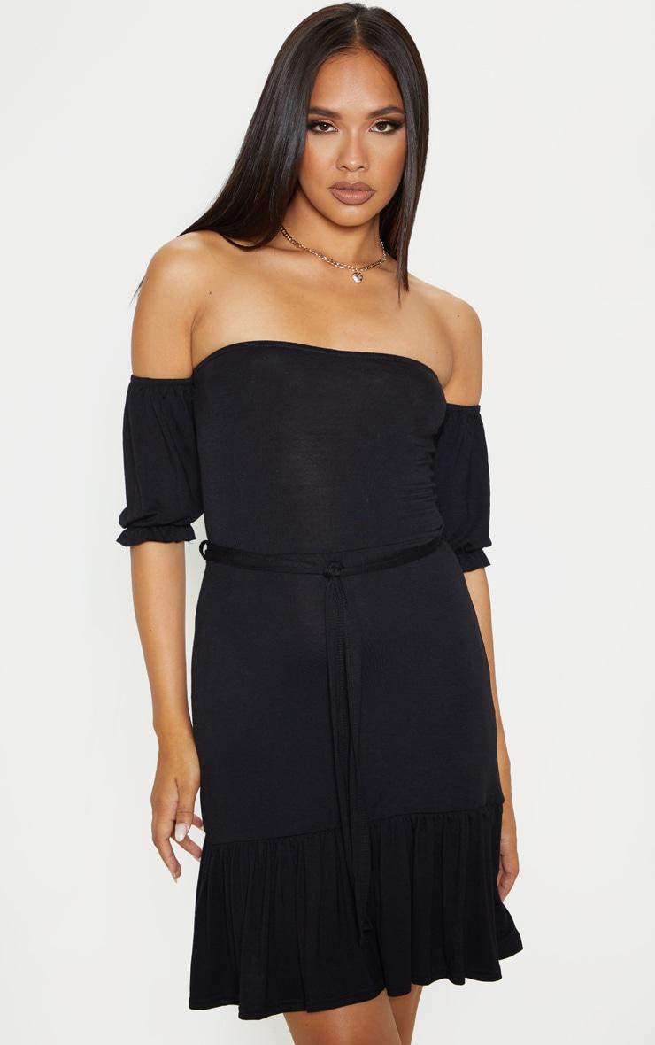 Black Bardot Frill Hem Skater Dress 1
