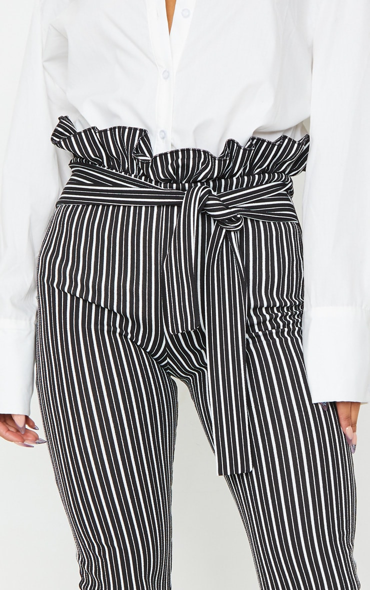 Black Stripe Paperbag Skinny Pants 4
