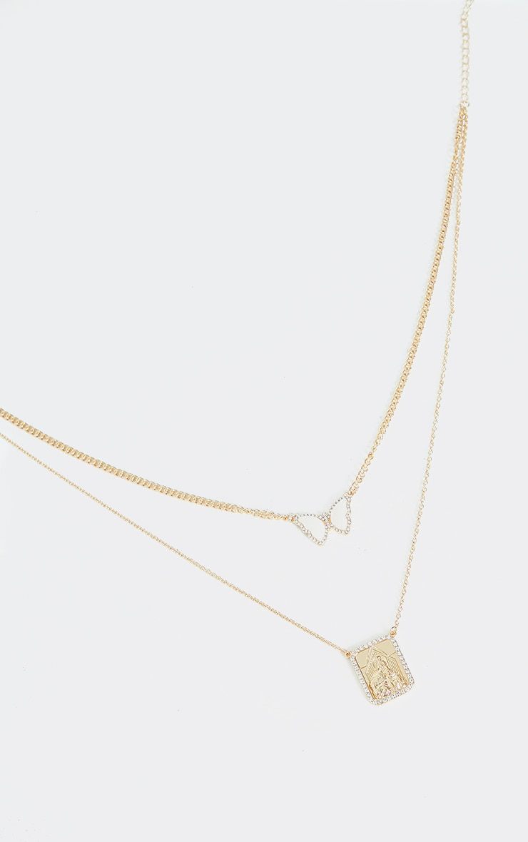 Gold Double Layered Diamante Butterfly Necklace 3
