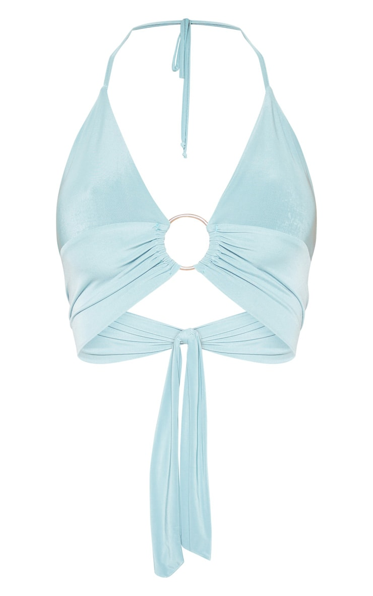 Dusty Turquoise Plunge Ring Detail Bralet 3