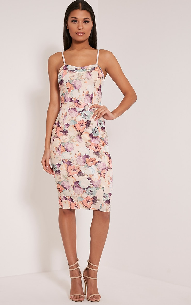 Dinah White Floral Print Strappy Midi Dress 1