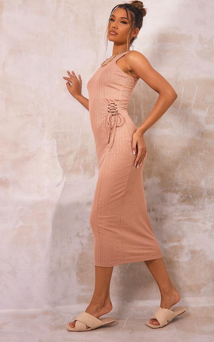 Stone Broderie Rib Sleeveless Midi Dress 1