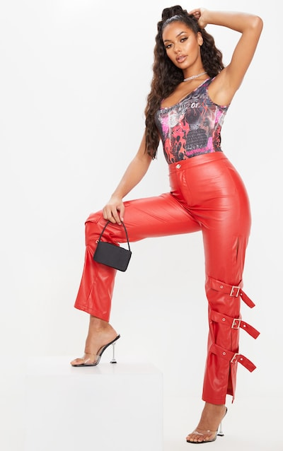 Red Faux Leather Buckle Strap Detail Trouser
