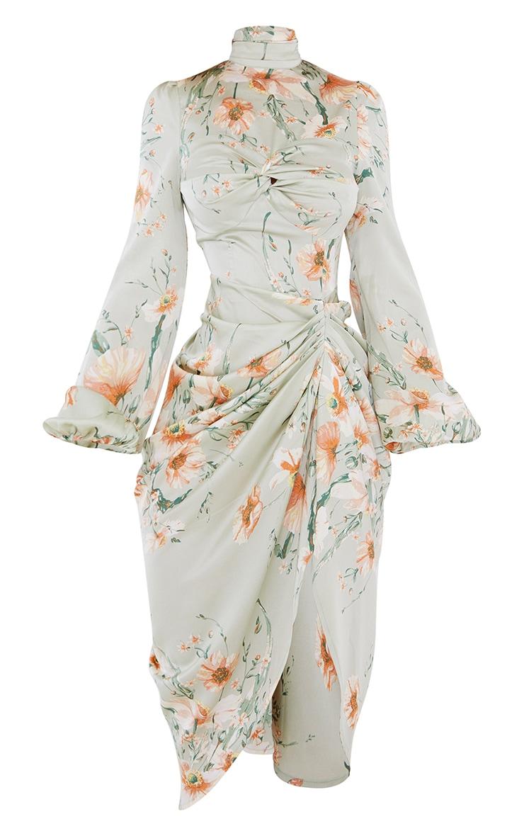 Sage Green Floral Twist Bust Draped Midi Dress 5