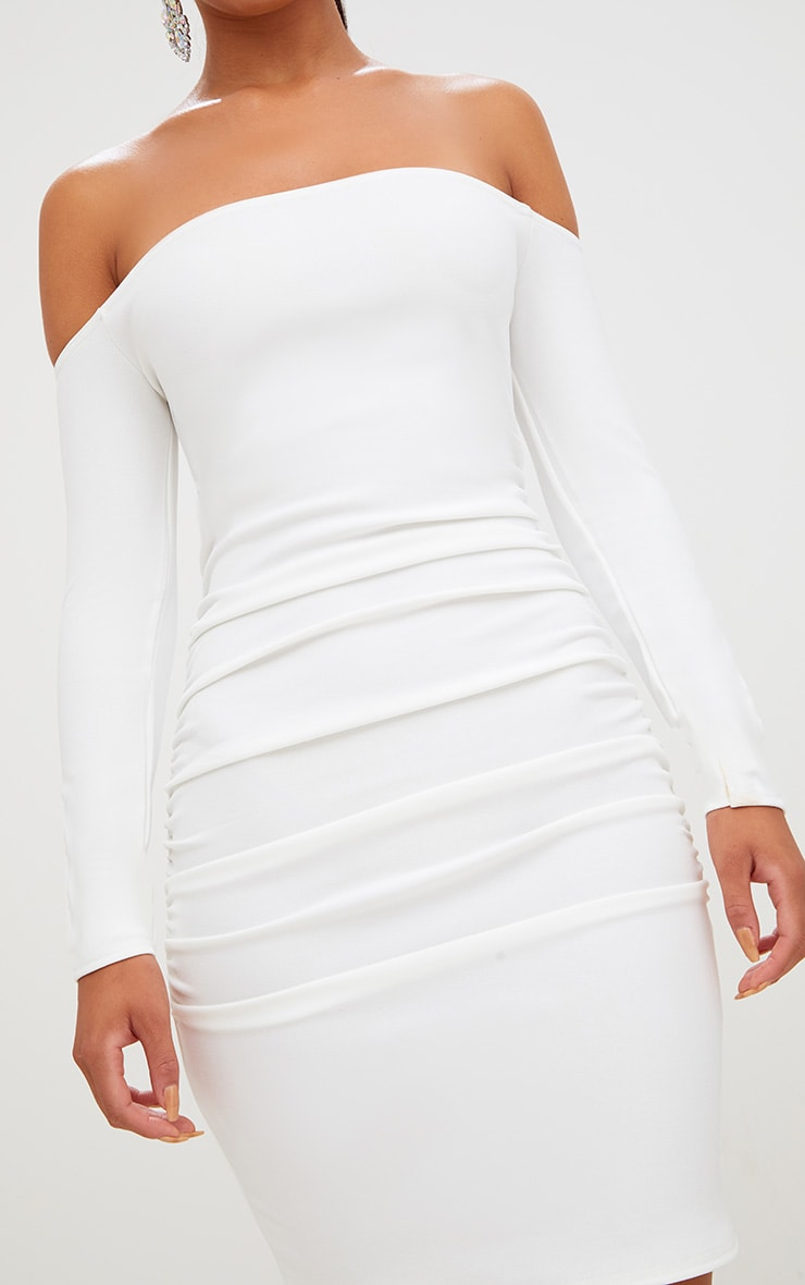White Long Sleeve Ruched Bardot Bodycon Dress 5