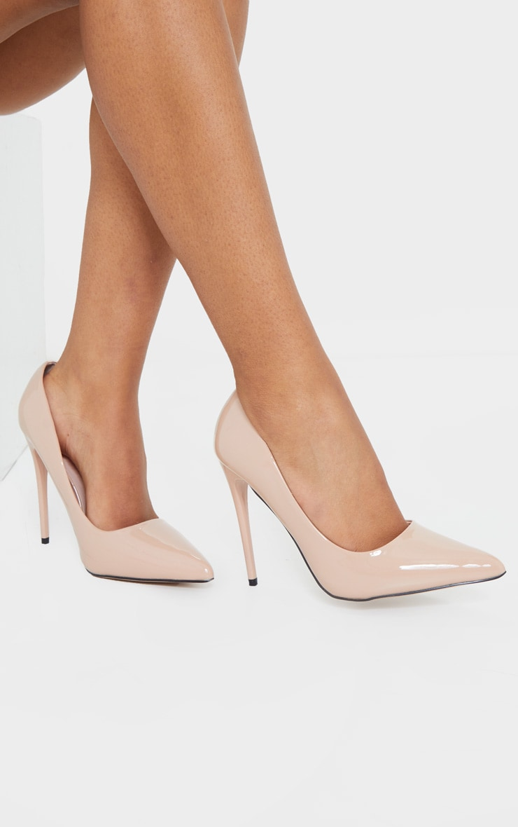 Nude Patent PU High Court Heel Shoes 2