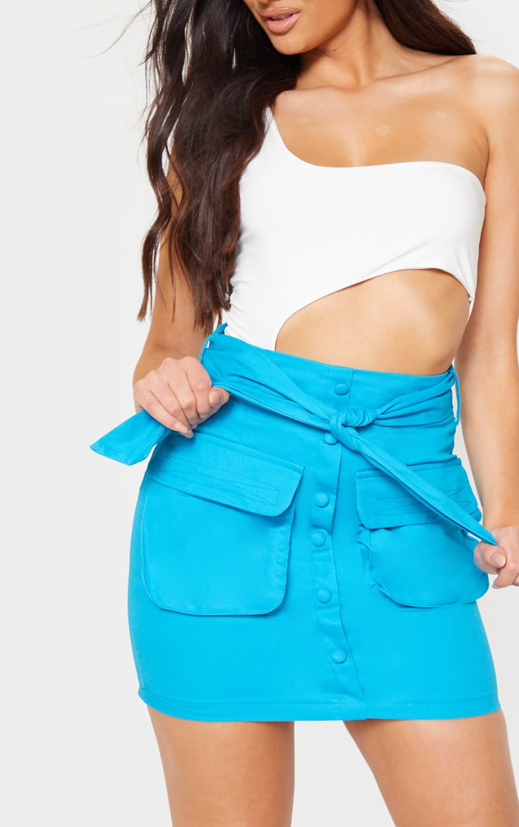 Bright Blue Utility Tie Waist Mini Skirt  6