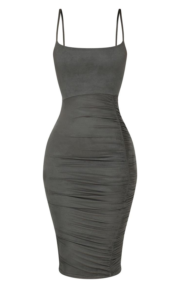 Shape Khaki Faux Suede Ruched Midi Dress 3
