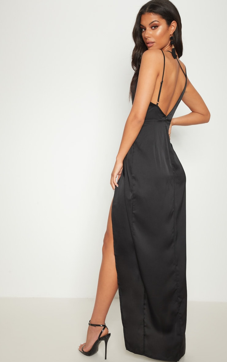 Black Asymmetric Sleeve Cut Out Split Leg Maxi Dress  2