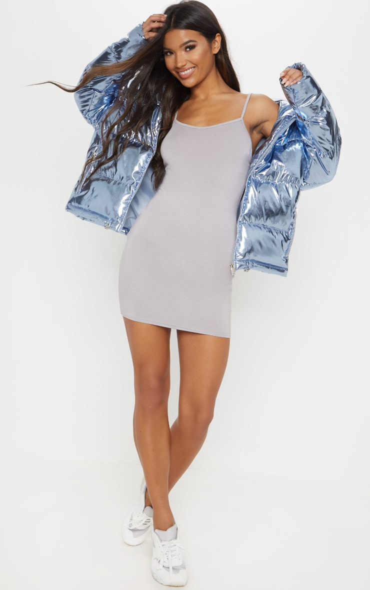 Basic Dove Grey Strappy Bodycon Dress 2