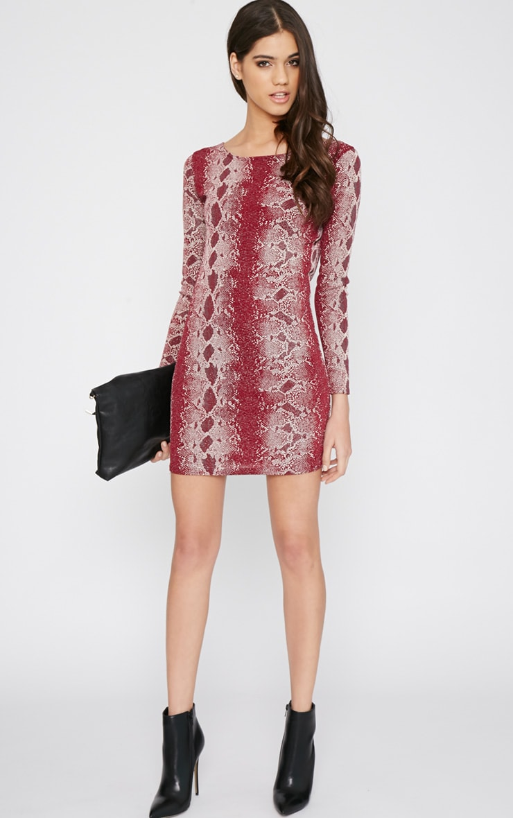 Moki Red Glitter Snake Print Mini Dress 3
