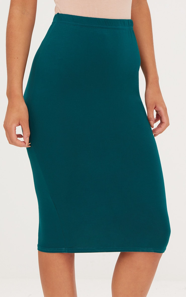 Taupe & Emerald Green 2 Pack Jersey Midi Skirt 9