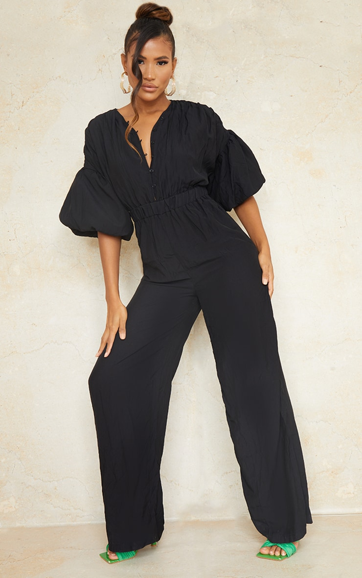 Black Puffball Sleeve Button Front Jumpsuit 1