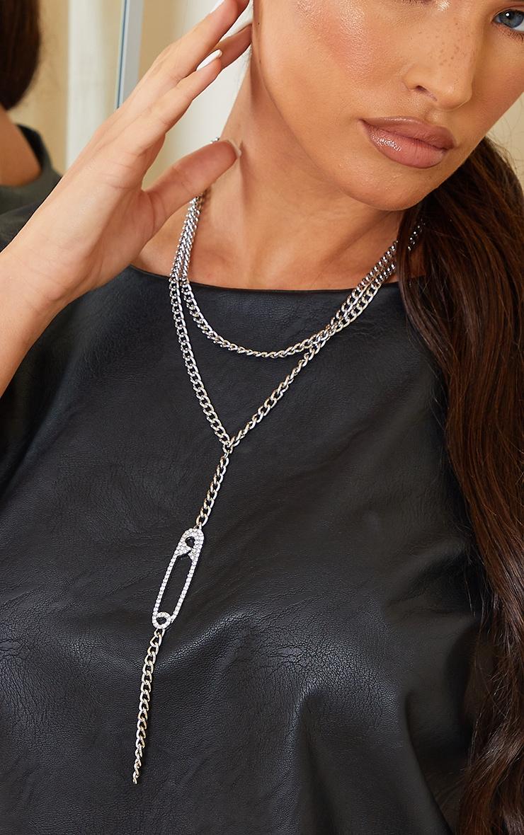 Silver Diamante Clip Drop Necklace 2