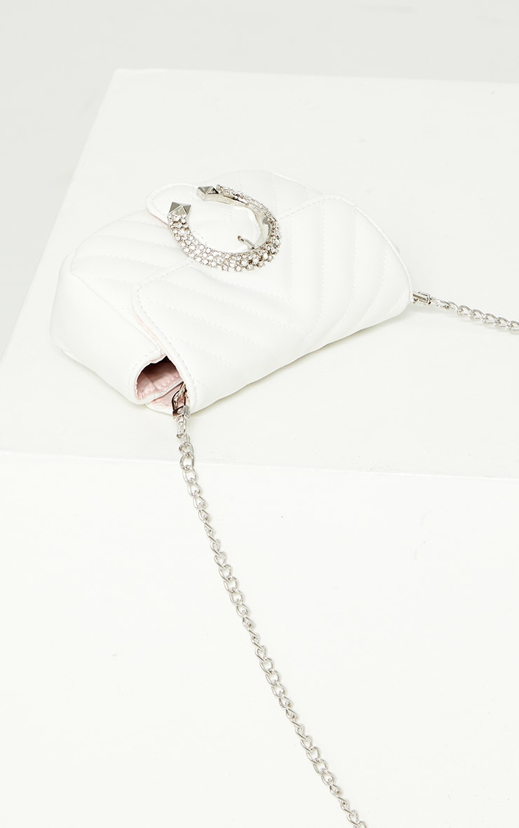 White Quilted Diamante Rounded Buckle Detail Cross Body Bag 2