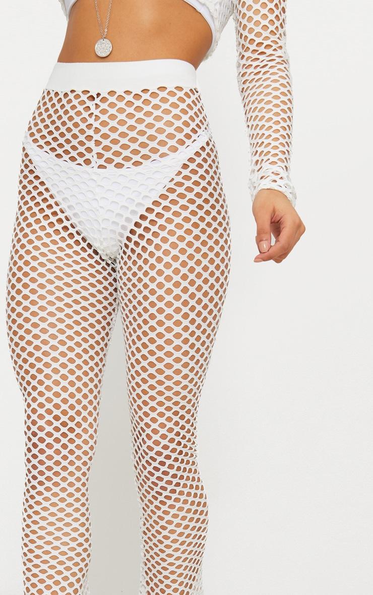 White Jumbo Fishnet Straight Beach Trouser 5