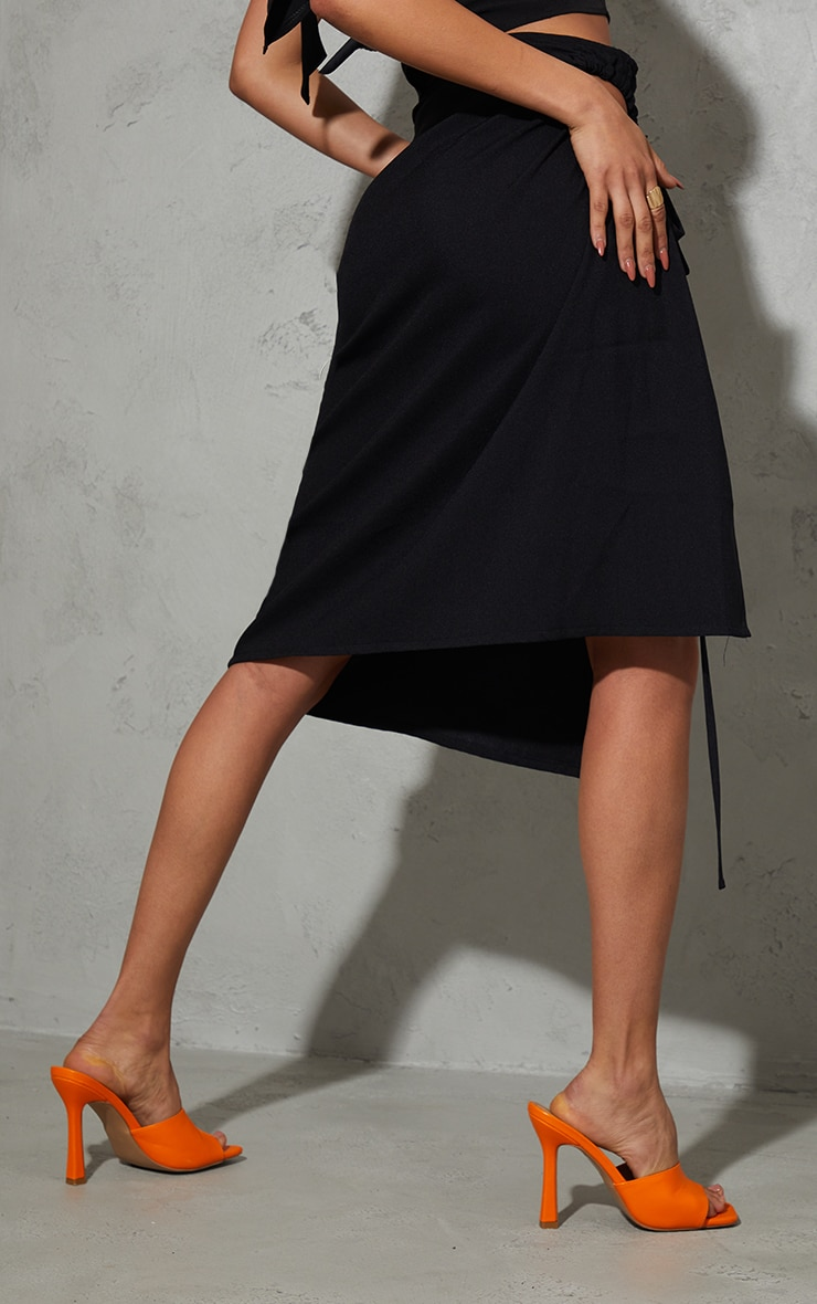 Black Woven Ruched Cut Out Detailing Midi Skirt 3