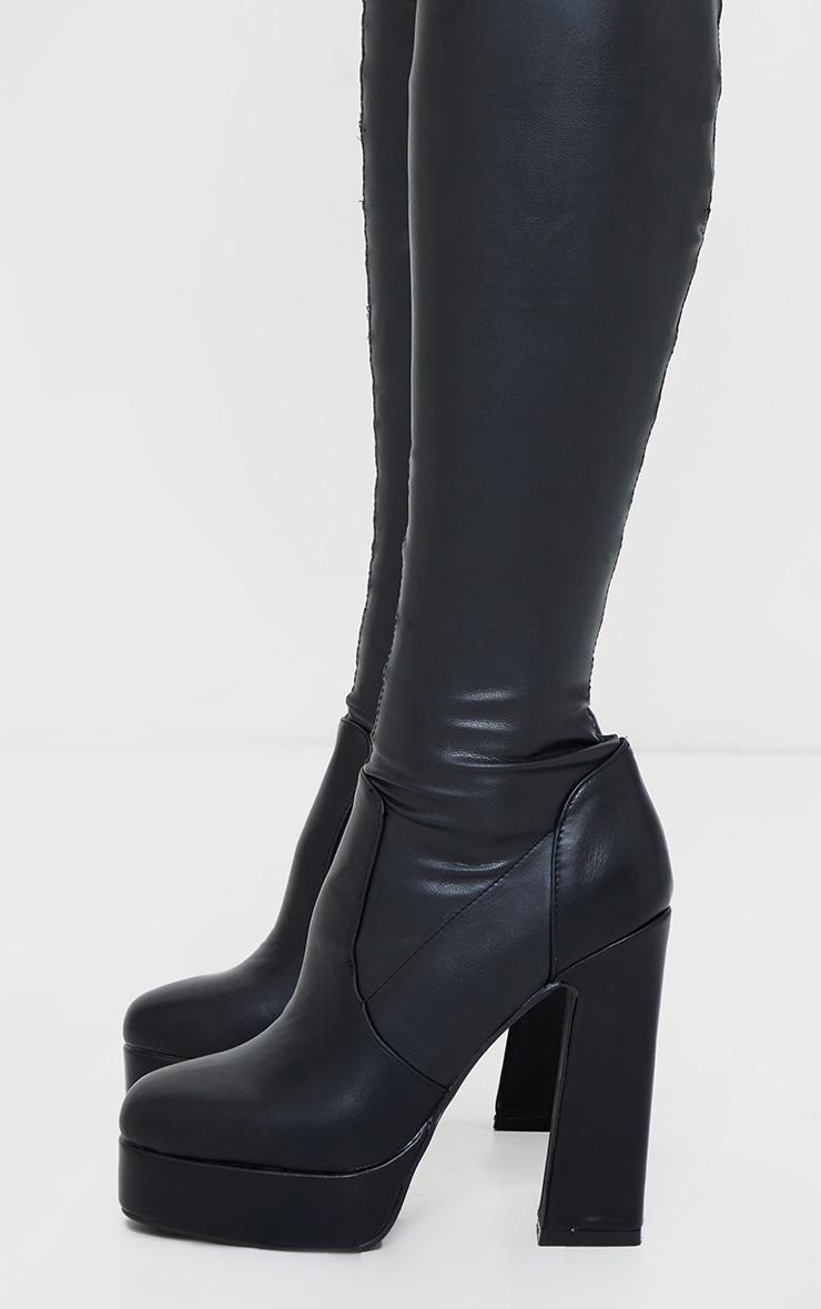 Black PU Over The Knee Platform Heeled Boots 3