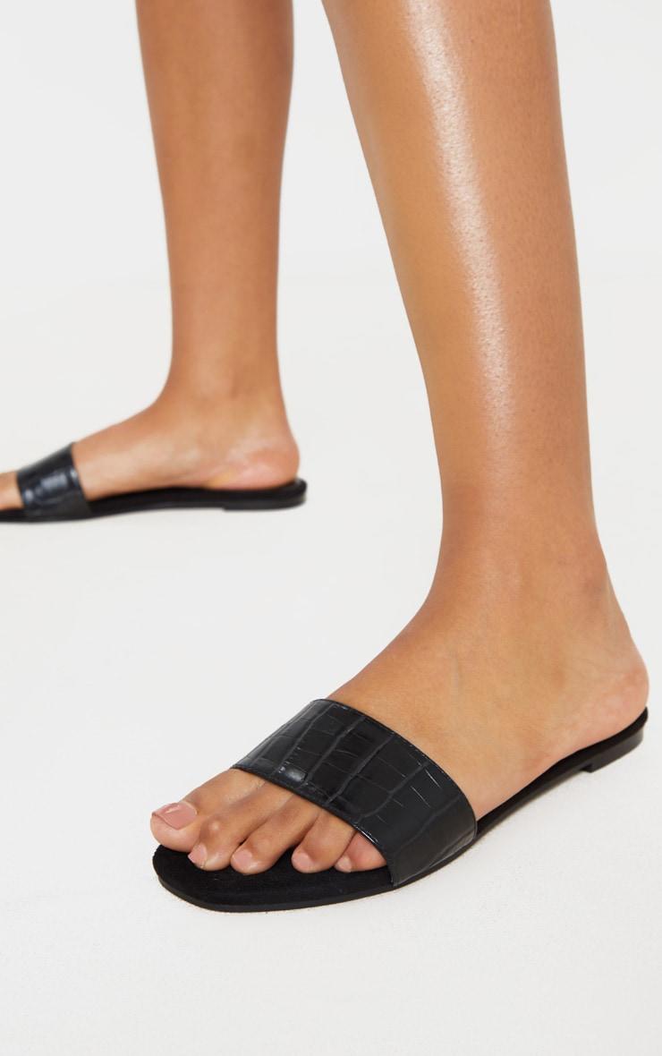 Black Single Strap Mule Sandals 1
