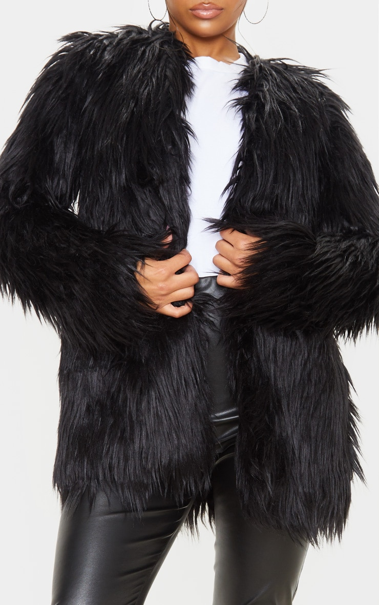 Amaria Black Shaggy Faux Fur Jacket 5
