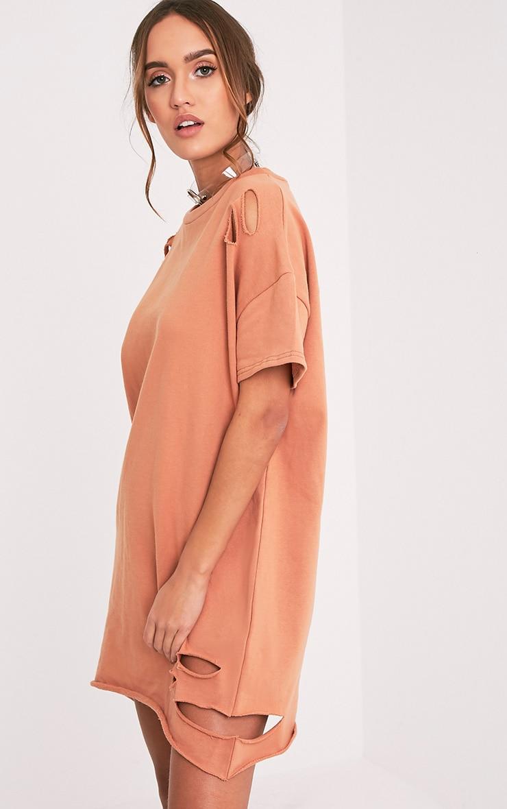 Orla robe pull pêche à manches courtes aspect vieilli 4