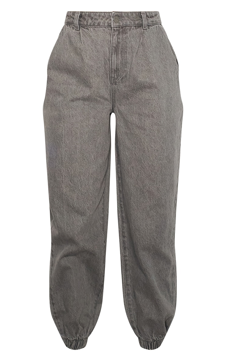 Washed Grey Cuffed Extreme Jogger Jeans 5