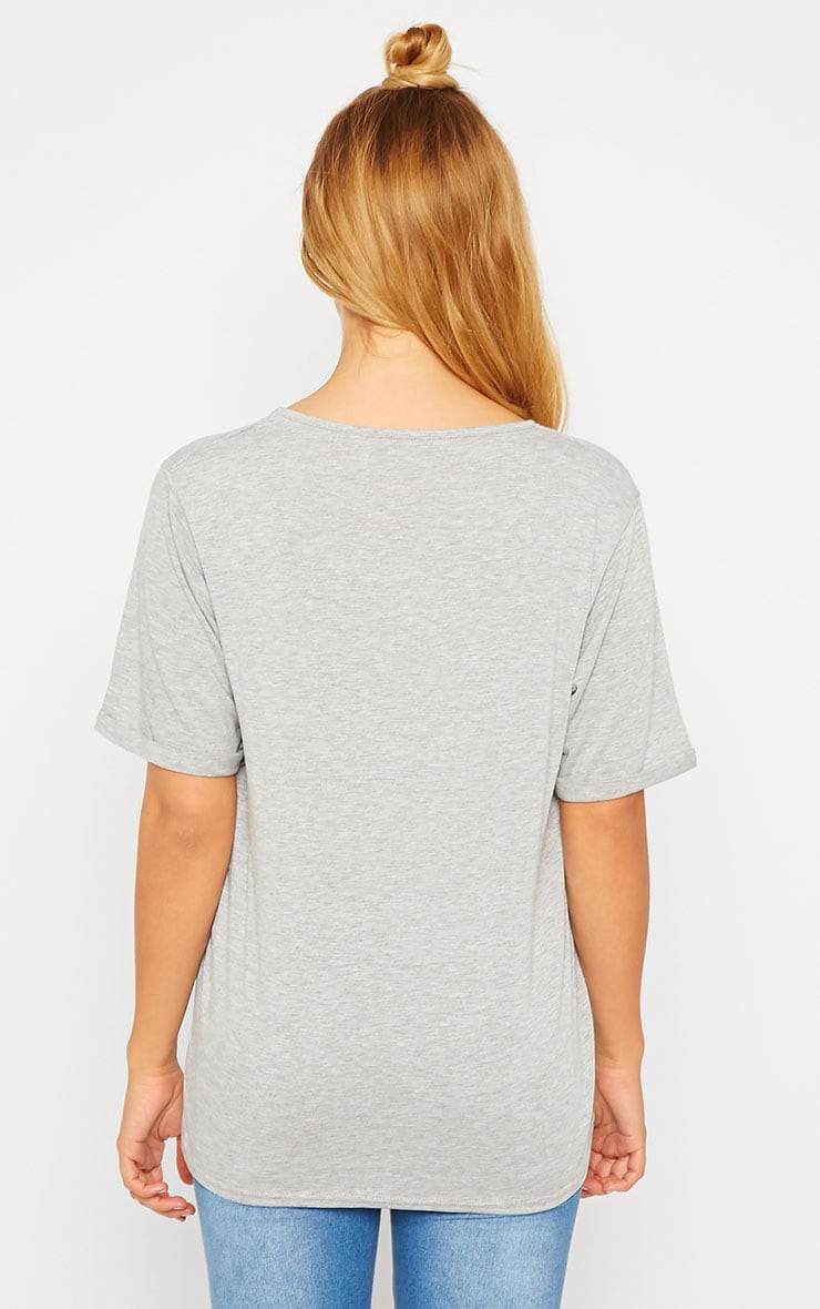 Basic Grey V-Neck Roll Sleeve T-Shirt 2