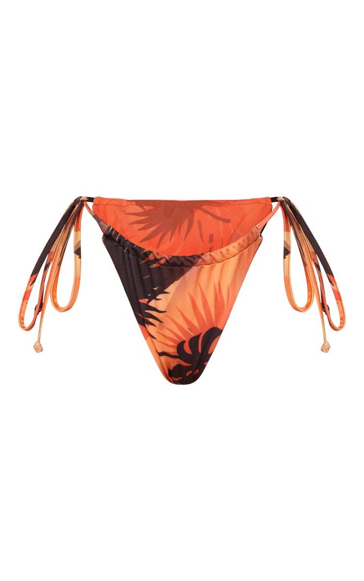 Orange Floral Minimal Adjustable Bikini Bottom 4