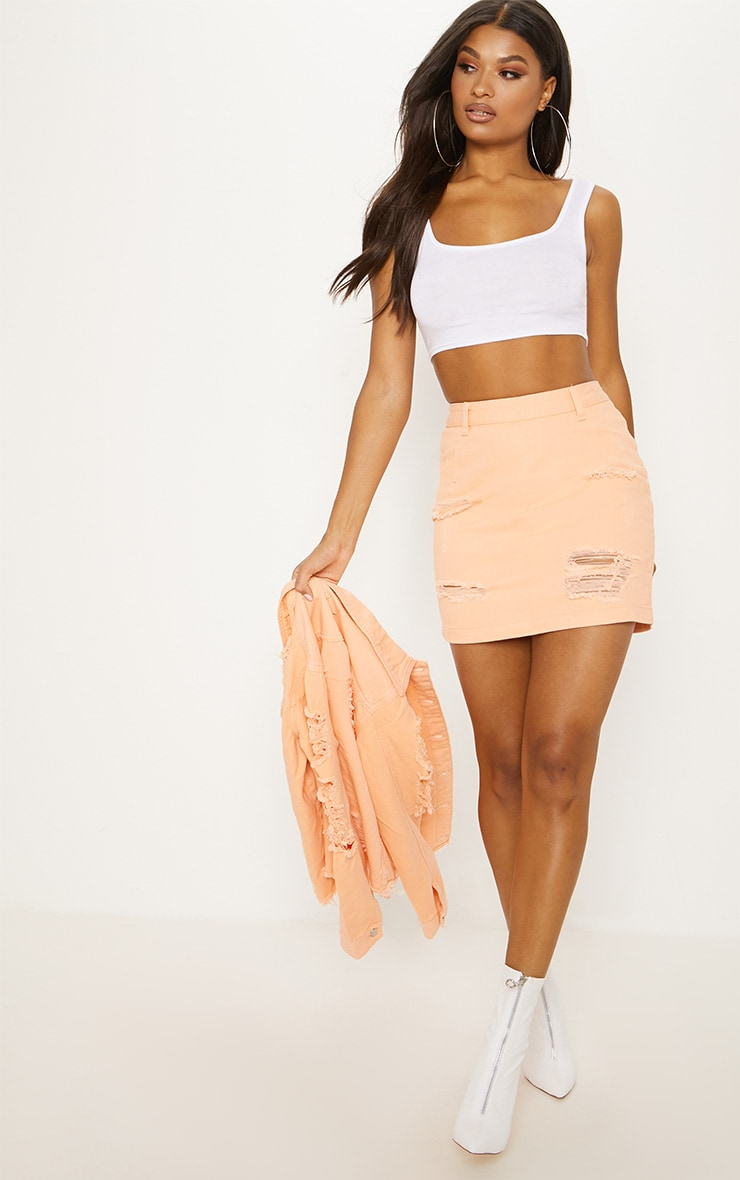 Peach Super Distress High Waisted Denim Mini Skirt 5