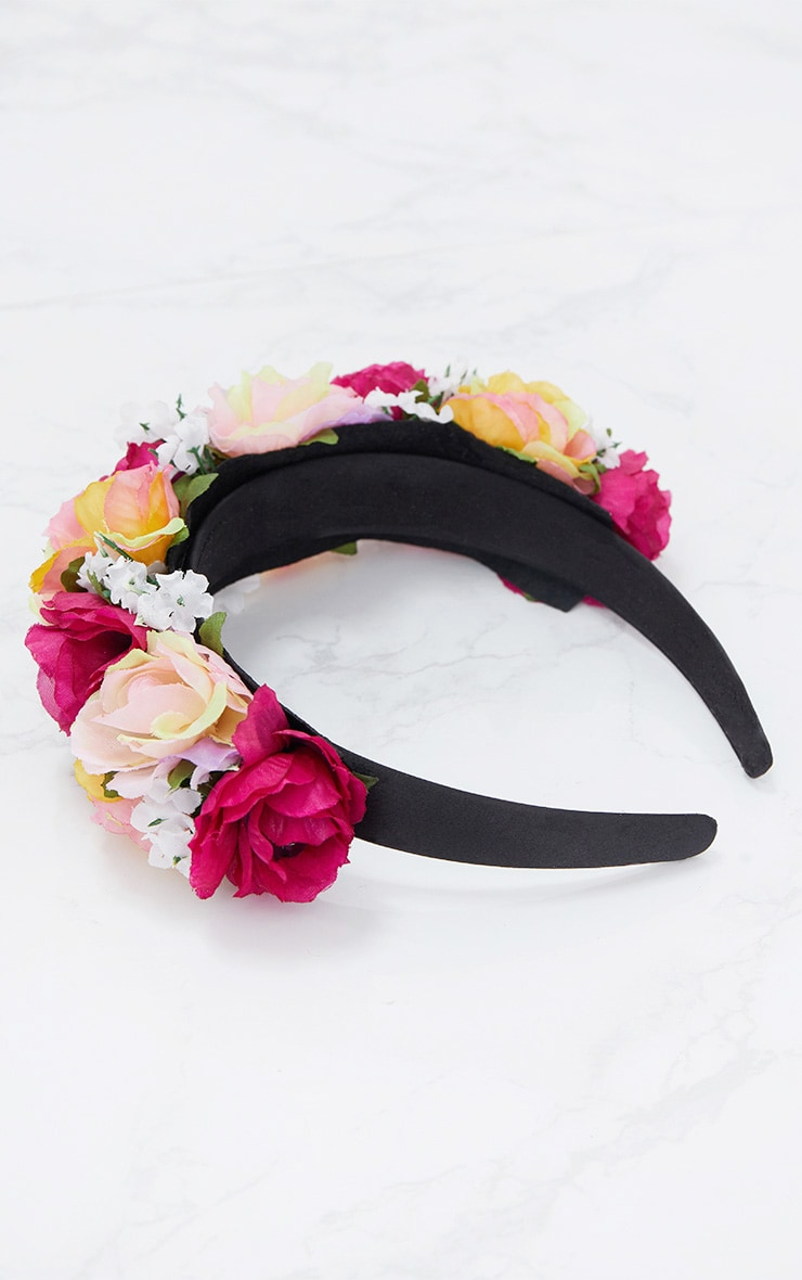 Pink Multi Floral Statement Headband 4