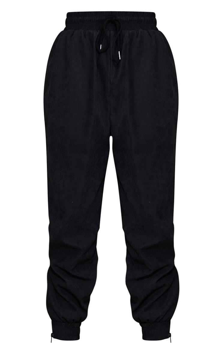 Black Peached Zip Detail Joggers 5