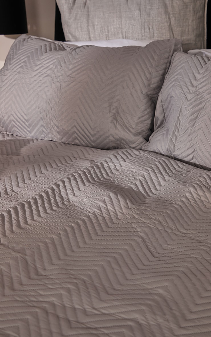 Silver Chevron All Over Pinsonic Double Duvet Set 2