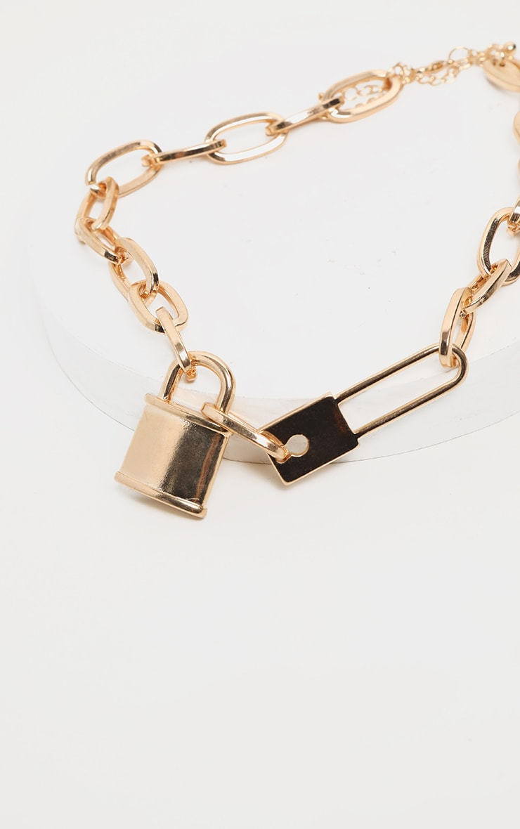 Gold Chunky Short Chain Padlock Necklace 3